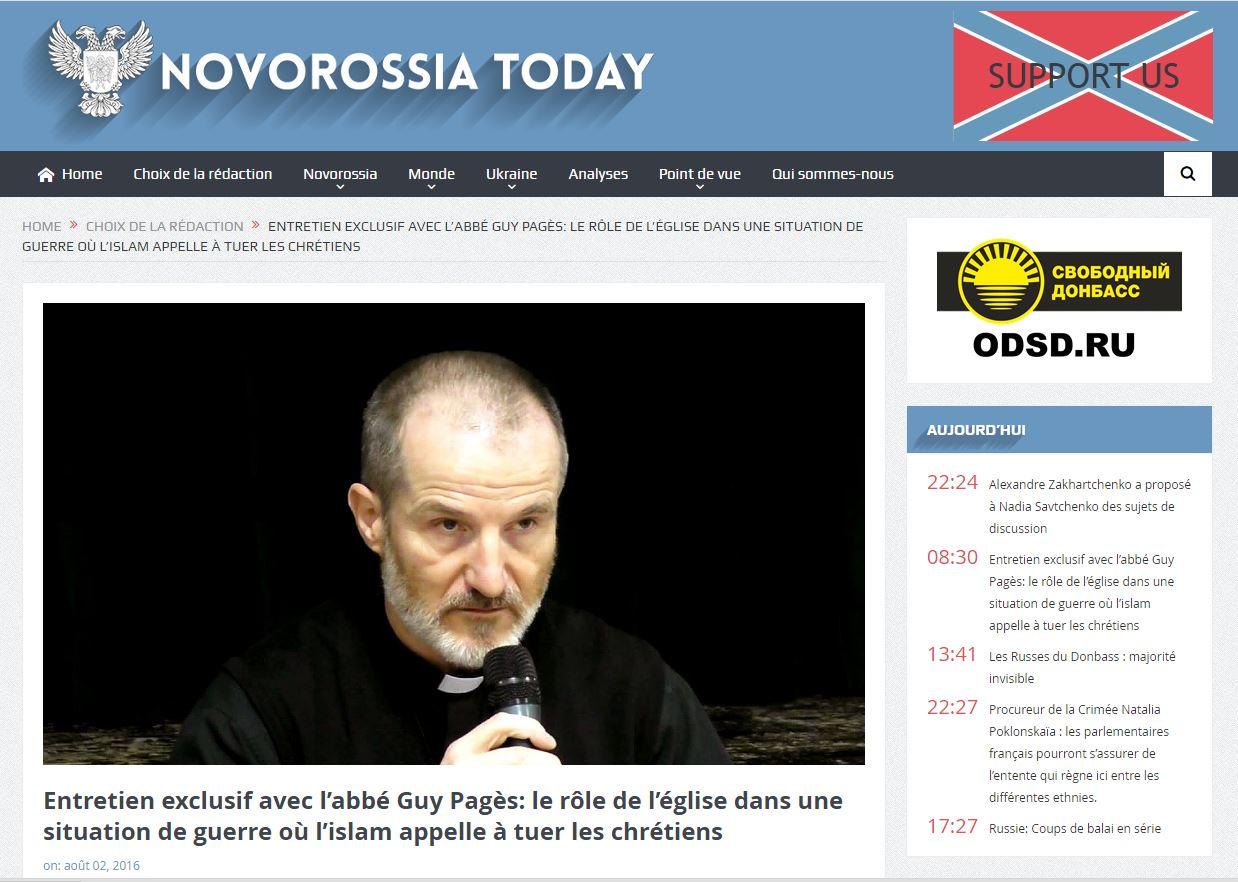 Abbé Pagès sur NOVOROSSIA TODAY au sujet de la situation actuelle