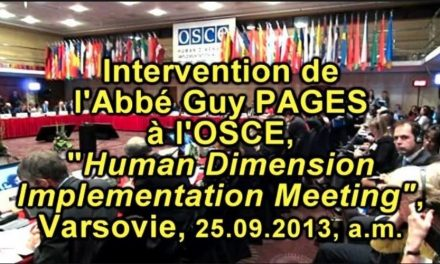 L'Abbé Pagès et les libertés fondamentales à l'OSCE le 25.09.13 a.m.