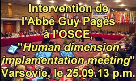L'Abbé Pagès et les libertés fondamentales à l'OSCE 25.09.13 p.m.