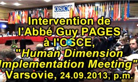 L'Abbé Pagès, Tolérance et non-discrimination, à l'OSCE le 24.09.13 p.m.