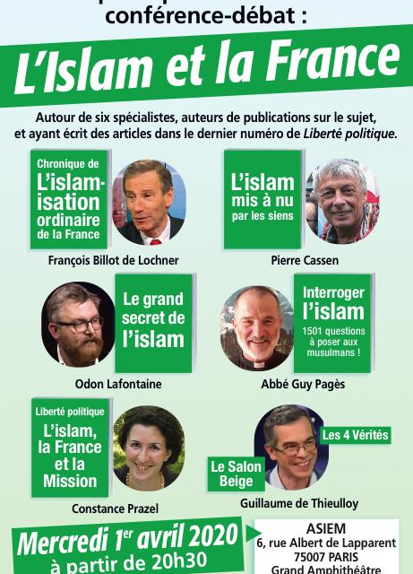 """Conférence """"L'Islam, la France et la mission"""" le 1er avril à Paris"""