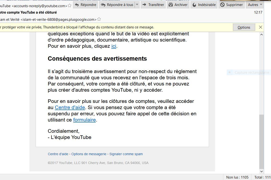 Youtube ferme la chaîne de Islam et Vérité…